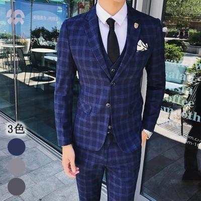 メンズ 3ピーススーツ チェック柄 2つボタン 3点セット ビジネススーツ 紳士服 フォーマル スーツ セットアップスーツ スリム 忘年会 結婚式 メンズスーツ