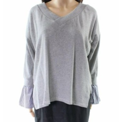 ファッション トップス RDI NEW Gray Womens Size Large L Striped Contrast-Cuff V-Neck Sweater