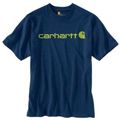 カーハート メンズ Tシャツ トップス Carhartt Men's Signature Logo SS T-Shirt Dark Cobalt Blue Heather