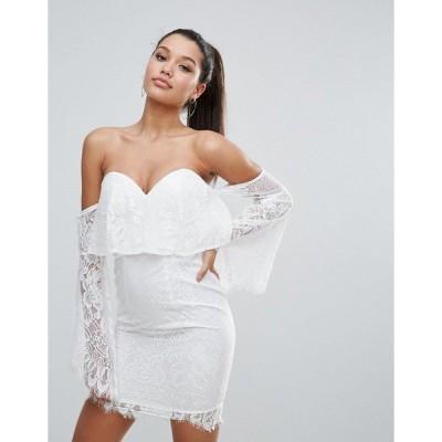 ラブトライアングル レディース ワンピース トップス Love Triangle All over Lace Off Shoulder Pencil Dress With Fluted Sleeve Detail White