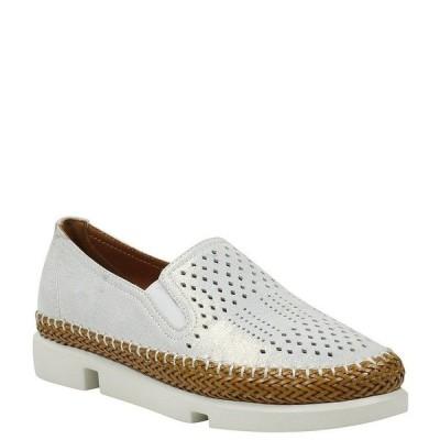 ラモールドピード レディース サンダル シューズ Stazzema Perforated Leather Slip On Oxfords White/Gold