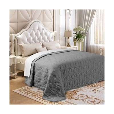 Lorient Home Brushed Microfiber Embroidered King Lightweight Quilt for Coverlet or Blanket Silver Bedding, Multi
