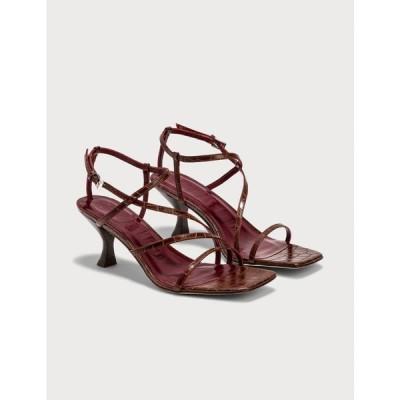 スタウド Staud レディース サンダル・ミュール シューズ・靴 gita sandal Brown Croc Embossed