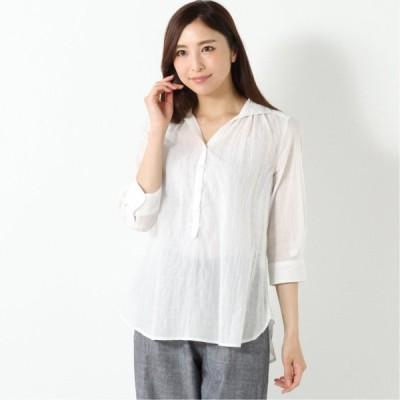 綿混素材◎シャンブレースキッパー七分袖シャツ オフホワイト M L