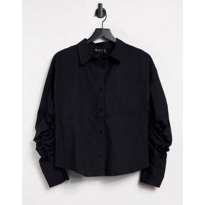エイソス ASOS DESIGN レディース ブラウス・シャツ トップス Asos Design Cotton Shirt With Channel Open Back Detail In Black ブラック
