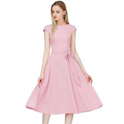 Dresstell(ドレステル) ワンピース レディース 夏 ロングワンピース レトロ ミモレ丈 袖 フレア 結婚式ドレス フォーマル お呼ばれ 二次会
