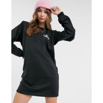 エイソス レディース ワンピース トップス ASOS DESIGN padded shoulder mini sweat dress in black with baby cheers logo Black
