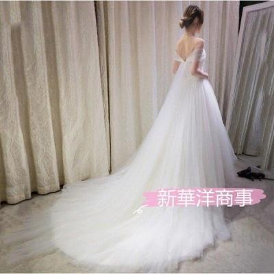 ウェディングドレス 結婚式 花嫁 二次会 パーティードレス プリンセスライン ウエディングドレス ブライダル 手作り トレーン  レース 白