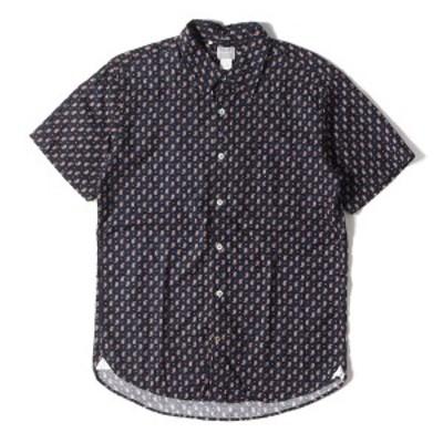 DELUXE デラックス シャツ 14SS ペイズリー 柄 コットン 半袖 ボタンシャツ JAKE ネイビー L 【メンズ】【中古】【K2639】