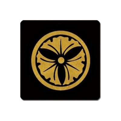 家紋捺印マット 金紋黒地 丸に三つ銀杏 11cm x 11cm KN11-3725