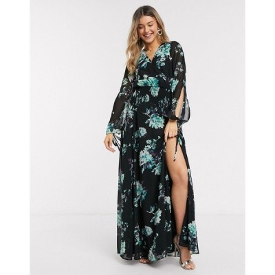 エイソス レディース ワンピース トップス ASOS DESIGN shirred maxi dress in two scale floral print Black floral