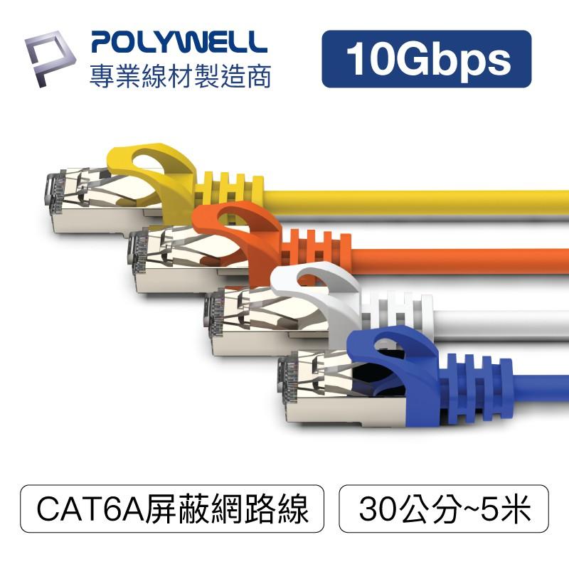 POLYWELL CAT6A 高速網路線 30公分~5米 10Gbps 網路線 RJ45 福祿克認證 寶利威爾 台灣現貨