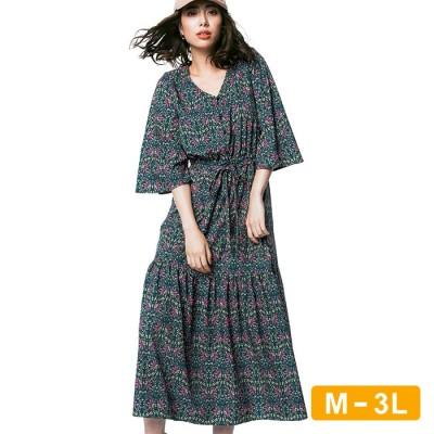 Ranan 【M~3L】更紗柄プリントロングワンピース ブルー 3L レディース
