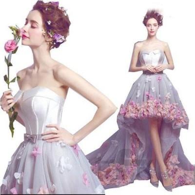花びらミニロング丈ウエディングドレス天使風ボリュームトレーンカラードレス花嫁ブライドドレスパーティー前撮り撮影ドレスセレブ風司会ドレス二枚