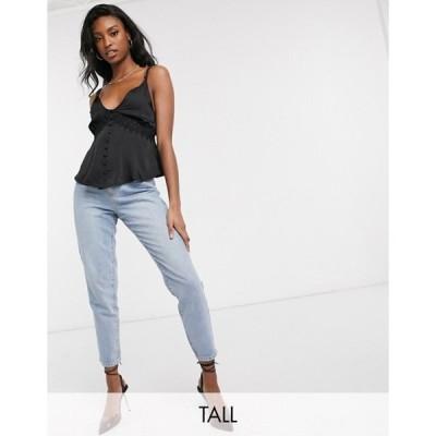 ミスガイデッド レディース シャツ トップス Missguided Tall satin cami top with lace detail in black