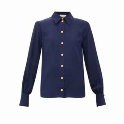グッチ Gucci レディース ブラウス・シャツ トップス Anchor-debossed button silk blouse Navy