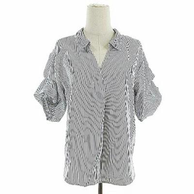 【中古】オリーブデオリーブ OLIVE des OLIVE ブラウス シャツ スキッパー 五分袖 リボン ストライプ M 白 ホワイト