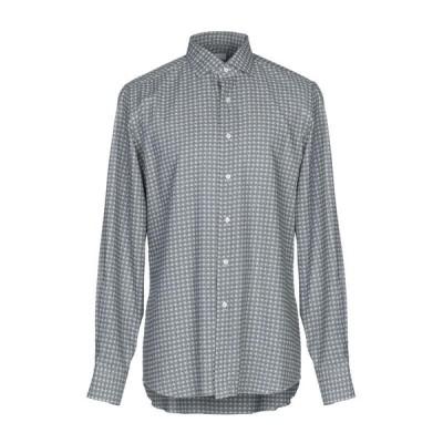 XACUS 柄入りシャツ ファッション  メンズファッション  トップス  シャツ、カジュアルシャツ  長袖 グレー