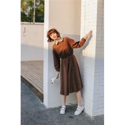 こっくり色シャツワンピース レディースロングスカート デイリーデート 茶色 カーキ アースカラー プチプラ通販 秋冬 Aライン