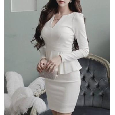 韓国 ファッション レディース ワンピース パーティードレス ぺプラム タイト ミニ丈 大きいサイズ セクシー ハイウエスト お呼ばれ 結婚