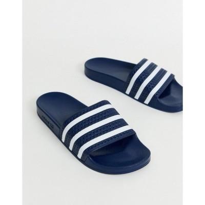 アディダスオリジナルス メンズ サンダル シューズ adidas Originals Adilette sliders in navy Navy
