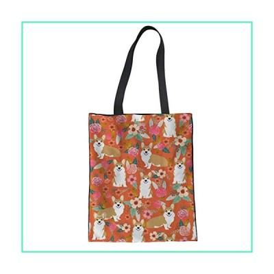 INSTANTARTS Women's Girl Florals Corgi Printed Fashion Canvas Totes, Handbag Shoulder School Bag並行輸入品