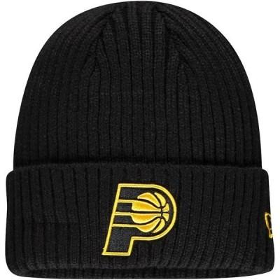 ニューエラ メンズ 帽子 アクセサリー Indiana Pacers New Era Core Classic Black on Black Cuffed Knit Hat