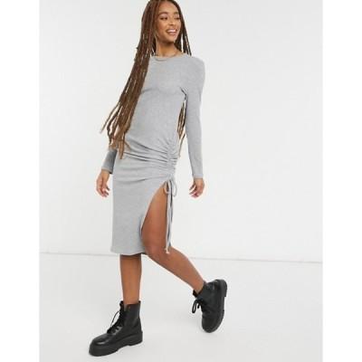 ニュールック レディース ワンピース トップス New Look ruched side slit midi dress in gray