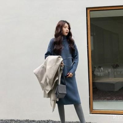 セットアップ ニット リブ ワンピース スリット タートルネック 韓国ファッション きれいめ カジュアル 大人ファッション 着回し