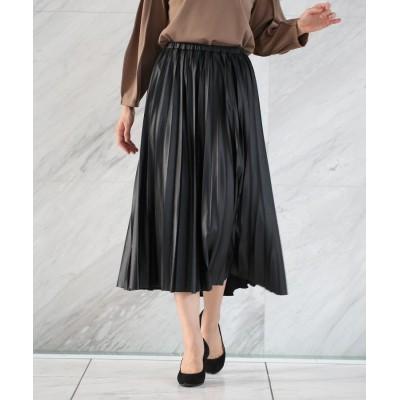 THE SHOP TK(Women)(ザ ショップ ティーケー(ウィメン)) レザーライクジャージプリーツスカート/ONSTYLE