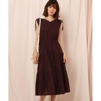 Couture Brooch/クチュールブローチ 【洗える】肩シャーリングティアードワンピース ダークブラウン(043) 38(M)