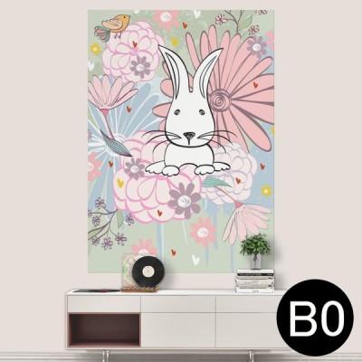 ポステッカー ポスター ウォールステッカー シール式ステッカー 飾り 1030mm×1456mm B0 写真 フォト 壁 イラスト 花 フラワー ウサギ 008859