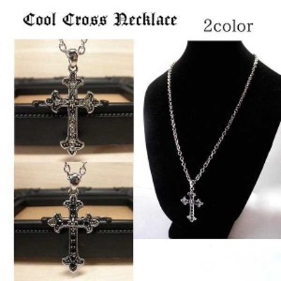 メンズネックレス・フレアクロス石入り・十字架・百合の紋章 シルバー×クリスタル
