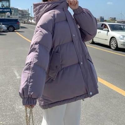フード付き ダウンジャケット もこもこ ロング丈 無地 トレンド ゆったり 軽い 大人可愛い かわいい ナチュラル フェミニン こなれ感 とろみ きれいめ 韓国