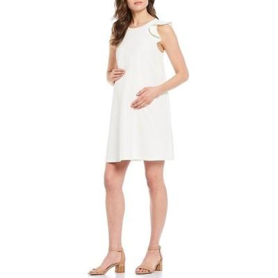アレックスマリー レディース ワンピース トップス Maternity Delilah Ruffle Detail Sleeveless Shift Twill Dress Ivory