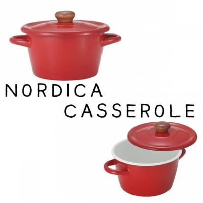 IH鍋 ノルディカ ホーローキャセロール20cm レッド 両手鍋 北欧風