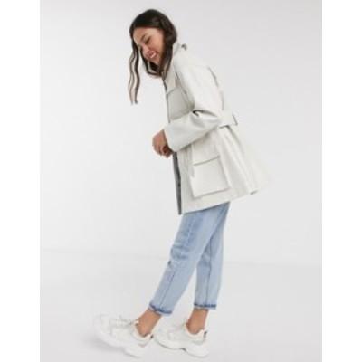 エイソス レディース ジャケット・ブルゾン アウター ASOS DESIGN four pocket belted faux leather jacket in white White