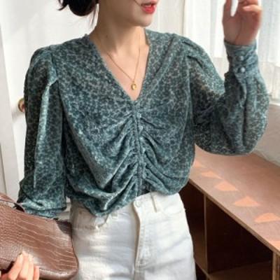 シアーシャツ ブラウス レディース おしゃれ Vネック ギャザー 花柄 長袖 透け感 シースルー フェミニン 大人可愛い きれいめ シンプル