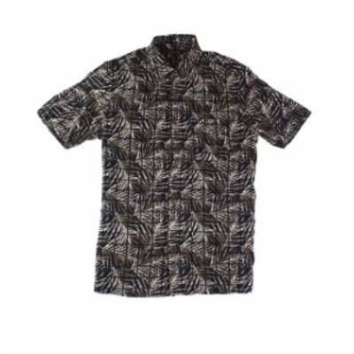 ファッション アウター Tasso Elba Mens Shirt Black Size Small S Button Down Leaf Lines Print