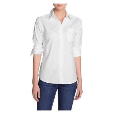 レディース 衣類 トップス Eddie Bauer Women's Wrinkle-Free Boyfriend Long-Sleeve Shirt ブラウス&シャツ
