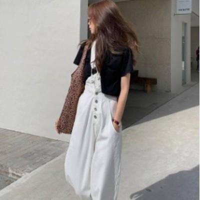 ワンショルダー オーバーオール ハイウエスト 大人可愛い カジュアル おしゃれ 韓国 オルチャン ファッション
