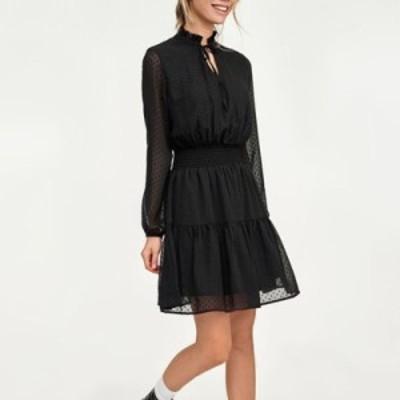 レディースファッションツ 黒のレースアップ中空アウトミニドレス女性vestidos長袖弾性ウエストセクシーなパーティークリスマスド