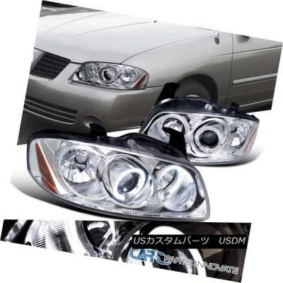 ヘッドライト 04-06日産セントラ交換用クロームLEDハロープロジェクターヘッドライトランプ For 04-06 Nissan Sentra Rep