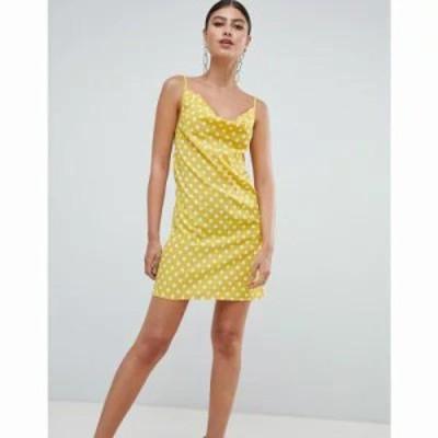 ミスガイデッド ワンピース Polka Dot Cowl Neck Cami Dress Yellow