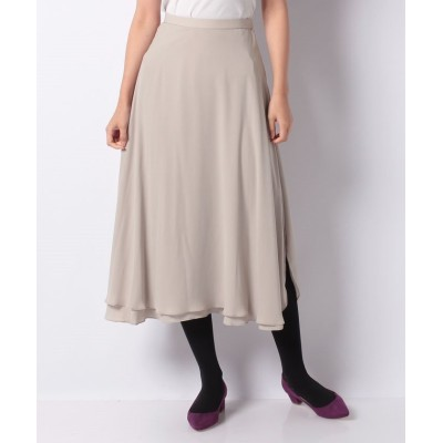 【クリスセリーン】 ロング丈2枚重ねスリット入りスカート レディース ベージュ 38 CHRISCELIN