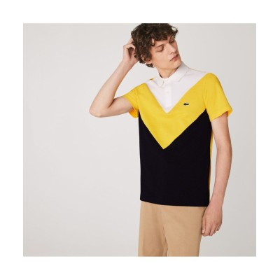 【ラコステ】 ジオメトリックカラーブロックポロシャツ メンズ イエロー 5(日本サイズXL) LACOSTE