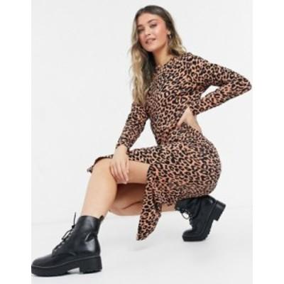 エイソス レディース ワンピース トップス ASOS DESIGN long sleeve midi T-shirt dress in leopard print Animal print