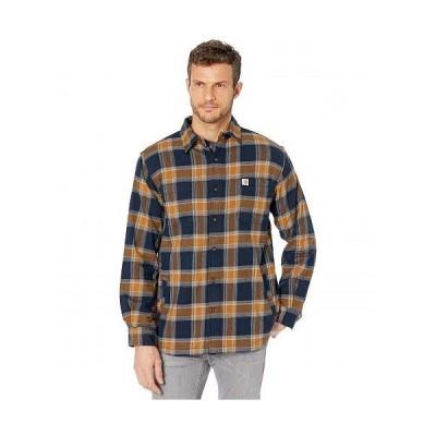 Carhartt カーハート メンズ 男性用 ファッション ボタンシャツ Rugged Flex Relaxed Fit Flannel Fleece Lined Plaid Shirt - Navy