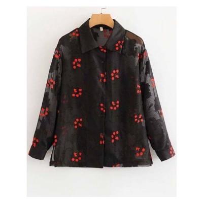 トップス シャツ 花柄 ワイシャツ ブラウス 透け感 長袖 フロントボタン 可愛い ガーリー 大人 カジュアル きれいめ 羽織 ラフ ゆるカジ ブラック