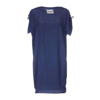 BRAND UNIQUE ミニワンピース&ドレス ダークブルー 1 シルク 100% ミニワンピース&ドレス